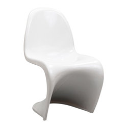 East End Imports - Kids Wavy White Plastic Dining Chair - Einstein may have shown that space was curved, but this chair gave tangible expression to the idea. Now over forty years since the Slither chair was first molded, budding scientists can rediscover the cosmos with this clean and durable playroom chair!