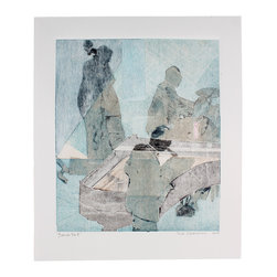 """Lost Art Salon - Berlin, '66 II Original Monotype by Rob Delamater - A cool combo springs to life in """"Berlin, '66 II,"""" a monotype on paper by contemporary Bay Area artist Rob Delamater. It's sure to engage the viewer and spark conversation wherever you choose to hang it."""
