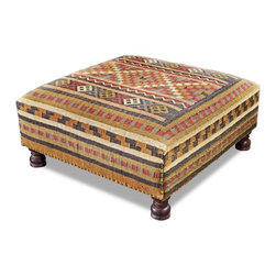 Interlude - Rae Plains Ottoman - Classic oversized lodge style footed ottoman in kilim.  Great cocktail table alternative.