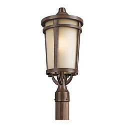 BUILDER - BUILDER Atwood Transitional Outdoor Post Lantern X-TSB47094 - From the Atwood Collection, this Kichler Lighting outdoor post light features a unique Brown Stone finish that accentuates the mission styling and clean lines. A light umber mist glass shade accentuates the tapered base and completes the look. Rated for wet locations.