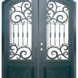 """Barcelona 72x96 Arch Top Wrought Iron Double Door 3/4 Lite Steel - """"SKU#PHBFB34ATDR4BrandGlassCraftDoor TypeExteriorManufacturer CollectionBuffalo Forge Steel DoorsDoor ModelBarcelonaDoor MaterialSteelWoodgrainVeneerPrice9200Door Size Options  $Core Typeone-piece roll-formed 14 gauge steel doors are foam filled  Door StyleArch TopDoor Lite StyleArch Lite , 3/4 LiteDoor Panel StyleHome Style MatchingMediterranean , Victorian , Bay and Gable , Plantation , Cape Cod , Gulf Coast , ColonialDoor ConstructionPrehanging OptionsPrehungPrehung ConfigurationDouble DoorDoor Thickness (Inches)1.5Glass Thickness (Inches)Glass TypeDouble GlazedGlass CamingGlass FeaturesInsulated , TemperedGlass StyleGlass TextureClear , Glue Chip , RainGlass ObscurityDoor FeaturesDoor ApprovalsWind-load RatedDoor FinishesThree coat painting process"""