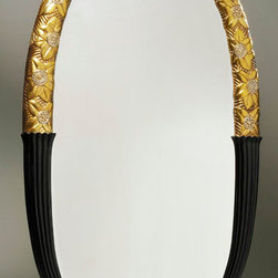 ILIAD Design - An Art Deco style gilt and ebonized oval mirror - An Art Deco style gilt and ebonized oval mirror by ILIAD Design. Stylized floral motif carved in lindenwood with dark underlay gesso and 24kt water gilded finish in yellow gold with white gold accents. Fluted lower motif in ebonized woood; Bevelled oval glass mirror