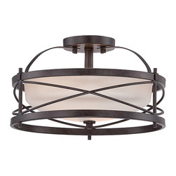 Nuvo Lighting - Ginger Old Bronze Two-Light Semi-Flush with Etched Opal Glass - - Bulb Socket Type: E26  - Shade: Etched Opal Glass  - Warranty: 1 Year Limited Warranty  - Bulbs are not included Nuvo Lighting - 60/5335