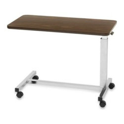 "Drive Medical - Drive Medical Low Overbed Table in Walnut - Designed specifically to meet the needs of patients in low beds, this Drive Medical overbed table is equipped with a spring-loaded lift mechanism that provides infinite height adjustments from 19.75""- 28.75"", making it an ideal solution."