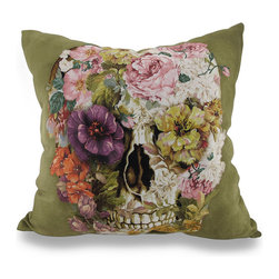Indoor/Outdoor Spring Floral Skull Decorative Throw Pillow 18 in. - Accent your home inside or out in elegant macabre style with this vivid green spring floral skull throw pillow that`s perfect for your living room sofa, the Adirondack chair on the patio or the chaise lounge in your garden oasis. The 100% polyester cover is water repellent and it`s filled with 100% polyester fiber. Measuring 18 inches high by 18 inches long (46 cm by 46 cm), it would look amazing by a pool area, in your woodsy cottage or just tossed on the bed, and features a human skull ensconced in spring flowers on both sides. It is recommended to dry clean or spot clean only. This bright and cheerful throw pillow would make an excellent housewarming gift for any skull fans!