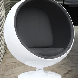 Fine Mod Imports - 42 in. Contemporary Ball Chair (Black) - Finish: BlackWhite shell. Cutting edge. Warranty: One year. Made from fiberglass. Assembly required. 42 in. W x 37 in. D x 49 in. H (50 lbs.)