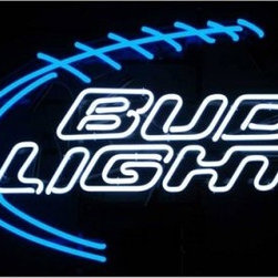 Bud Light Football Neon Sign - Perfect for your basement bar (or real bar), the Bud Light Football Neon Sign is a bright beacon of love for the gridiron and great beer. Neonetics neon signs are hand-blown and brightly colored for a warm, mesmerizing glow. Mounted on a black metal grid that can be hung or sit on a shelf, each unit houses efficient, silent solid-state transformers and a built-in plug.