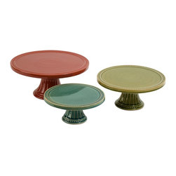 iMax - iMax Reyes Pedestal Cake Plates - Set of 3 X-3-14296 - This set of three Reyes pedestal cake plates feature bright red, green and blue finishes in small, medium and large sizes. Great for stacking to create a tiered serving centerpiece!