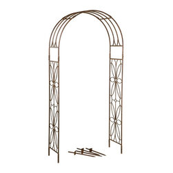 Deer Park Ironworks - Deer Park Ironworks Stained Glass Arbor Multicolor - AR203 - Shop for Arbors and Trellises from Hayneedle.com! Create a garden that is reminiscent of years past with the gorgeous Deer Park Ironworks Stained Glass Arbor. With a delicate and beautiful floral motif this garden arbor is the perfect entryway into your yard or garden beckoning your guests to come and explore. Made from durable heavy gauge metal with a protected baked-on powder-coated finish. Its natural patina is a beautiful complement to any decor or color scheme making it a beautiful addition to your home.About Deer Park Ironworks LLCYou'll immediately recognize a yard that's been appointed with pieces from Deer Park thanks to the classic wrought iron designs and traditional finish that has made them an power player in the outdoor furniture industry. Dedicated to creating value for their customers with durable quality pieces of functional and ornamental wrought iron Deer Park continues to provide timeless designs while never sacrificing customer service and satisfaction as their pursue their corporate goals.