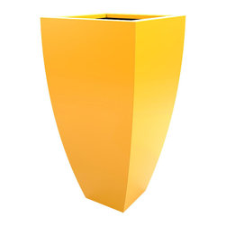 Decorpro - Corby Planter, Yellow - The Corby Planter evolved from a variation on the standard square pots. Although designed as a large outdoor planter, these tall elegant planters also look great indoors. With clean curved lines these modern planters add an impressive statement as commercial  planters or in private residences.