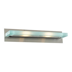 "PLC Lighting - SN Satin Nickel 24 Wide Bath Bar from the Slim Collection - Slim halogen vanity light with acid frosted glass shade Extends: 5.5"" 2 100w 120V J118mm bulb included"