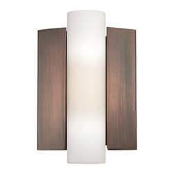 Satco - Satco Chase LED Modern / Contemporary Wall Sconce X-121/26 - With a cylinder of etched opal glass flanked by supports of tapered brushed nickel or hazel bronze, Chase is a bold, substantial alternative to the traditional wall sconce.