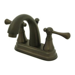 """Kingston Brass - Two Handle 4"""" Centerset Lavatory Faucet with Brass Pop-up KS7615BL - The English Vintage . Collection embodies the essence of classical elegance with its unique bulky escutcheons and gooseneck spout. The hand levers are built narrow and are constructed in a traditional style to make your bathroom timeless.. Manufacturer: Kingston Brass. Model: KS7615BL. UPC: 663370036675. Product Name: Kingston Brass English Vintage Two Handle 4"""" Centerset Lavatory Faucet with Brass Pop-up. Collection / Series: English Vintage. Finish: Oil Rubbed Bronze. Theme: Classic. Material: Brass. Type: Faucet. Features: Drip-free ceramic cartridge system"""