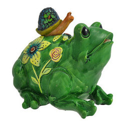 Outdoor Frog and Mosaic Snail Garden Statue - Add a charming accent to your garden or flower bed with this frog and snail statue. Made of cold cast resin, it measures 7 1/2 inches tall, 8 inches long, and 7 inches wide. The snail has a beautiful mosaic shell that is sure to catch your eye, and the frog is hand painted for a whimsical effect. This piece makes a great gift for a friend with a frog collection, or for your favorite gardener.