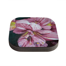 """Kess InHouse - Cathy Rodgers """"Pink Day Lily Blooms"""" Pink Flower Coasters (Set of 4) - Now you can drink in style with this KESS InHouse coaster set. This set of 4 coasters are made from a durable compressed wood material to endure daily use with a printed gloss seal that protects the artwork so you don't have to worry about your drink sweating and ruining the art. Give your guests something to ooo and ahhh over every time they pick up their drink. Perfect for gifts, weddings, showers, birthdays and just around the house, these KESS InHouse coasters will be the talk of any and all cocktail parties you throw."""