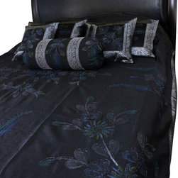 Banarsi Designs - Hand Painted Floral 7-Piece Duvet Cover Set, Mystic Black, Queen - Our decorative and unique 7-piece hand painted floral duvet cover set from Banarsi Designs includes: 1 duvet cover, 2 square pillow covers, 2 rectangular pillow covers, and 2 bolster pillow covers.