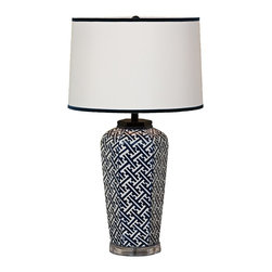 "Port 68 - Contemporary Navy Geo Sake Jar Porcelain Table Lamp - Crafted from porcelain this white and navy blue table lamp is spectacularly eye-catching with its handsome geometric pattern. The base was inspired by a small Japanese sake jar and updated with a lucite stand at the the bottom. A white polyester drum shade with velvet trim echoes the dark/light contrast from the base below and modernity of the clear stand. From Port 68. Porcelain construction. Sake jar inspired base. Dark navy and white finish geometric pattern. Lucite stand. White polyester shade with velvet trim. Maximum 150 watt 3-way bulb (not included). Rotary switch. 27"" high. 16"" from base to bottom of shade. Shade is 14"" across the top 15"" across the bottom 10"" high. Base is 8"" wide.  Porcelain construction.  Sake jar inspired base.  Dark navy and white finish geometric pattern.  Lucite stand.  White polyester shade with velvet trim.  Maximum 150 watt 3-way bulb (not included).  Rotary switch.  27"" high.  16"" from base to bottom of shade.  Shade is 14"" across the top 15"" across the bottom 10"" high.  Base is 8"" wide."