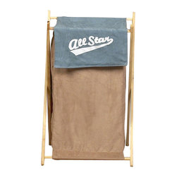 "Sweet Jojo Designs - All Star Sports Hamper - The All Star Sports Hamper by Sweet Jojo Designs will add a designers touch to any childs room. This childrens laundry clothes hamper has a wooden frame, mesh liner, and a fabric cover.The removable hamper body is secured to the wooden frame with corner loops and Velcro. The wooden stand folds flat for space-saving storage and the removable mesh liner is great for toting laundry.Dimensions: 15.5"" Length x 16"" Width x 26.5"" Height.If you like the All Star Sports Hamper Hamper, dont forget to check out the other items in the collection."