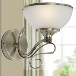 Modern Iron Art and Glass Shade Wall Sconce is brushed Nickel Finish -