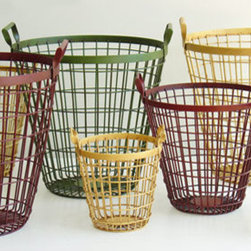 Metal Basket - These colorful wire baskets would look great as storage, or as wastebaskets for the office.