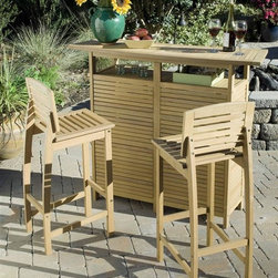 HomeStyles - 3-Pc Outdoor Bar Set - Includes bar cabinet and two bar stools. Eco-friendly. Traditional style. Island inspired design. Bar with arc shaped top suspended above the four storage shelves. Durable and natural resistance to water. Back legs and contoured seat of stool in arc shape. Made from shorea wood. Natural teak finish. Made in Indonesia. Cabinet: 52.5 in. W x 17.75 in. D x 43.5 in. H. Bar stool: 18.75 in. W x 15.75 in. D x 39.75 in. H. WarrantyThis bar set is designed to provide endless hours of outdoor entertainment.