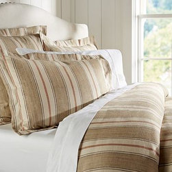 Joshua Stripe Duvet Cover, Full/Queen, Neutral - These classic stripes easily coordinate with other patterns and colors to effortlessly bring a room together. Made of linen/cotton blend. Duvet cover has interior ties and a button closure. Sham has an envelope closure. Duvet cover, sham and insert sold separately. Machine wash. Imported.
