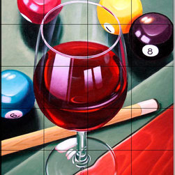 The Tile Mural Store (USA) - Tile Mural - Rack Them Up - Kitchen Backsplash Ideas - This beautiful artwork by Ian Greathead has been digitally reproduced for tiles and depicts a nice Wine scene.  Our decorative tiles with wine are perfect to use for your kitchen backsplash tile project. A wine tile mural adds elegance and interest to your kitchen wall tile area and makes a wonderful kitchen backsplash idea. Pictures of wine on tiles and images of wines bottles on tiles and wine glasses on tiles is timeless and these decorative tiles of wine blend with any decor. Your kitchen will come to life with a tile mural featuring wine.