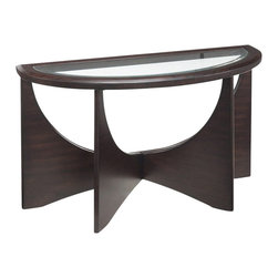 Magnussen - Magnussen Okani Wood Demilune Sofa Table in Merlot - Magnussen - Sofa Tables - T236175 - About This Product: