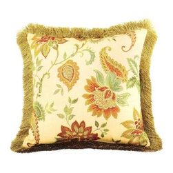 """Canaan - Veranda Ivory Floral Pattern Print 20"""" x 20"""" Throw Pillow with Brush Fringe Trim - Veranda ivory floral pattern print 20"""" x 20"""" throw pillow with brush fringe trim. Measures 20"""" x 20""""made with a blown in foam and also available with feather down inserts at additional costs, search for throw pillow options to add the up charge to your order. These are custom made in the U.S.A and take 4- 6 weeks lead time for production."""