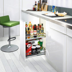 Base Pullouts - Clever Storage offers many different base pullout storage options.  These are all German engineered and made, feature high quality plated steel, and non slip shelves that are easy to clean.