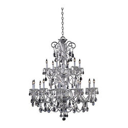 """Quorum International - Quorum International 664-18 Eighteen Light Up Lighting Two Tier Chandelier - Eighteen Light Up Lighting Two Tier Chandelier from the Bohemian Marien CollectionThe great dressed chandeliers of the late Georgian period in England, of which the Bohemian-Marien chandeliers are a superb example, were the height of luxury at the time, being both very expensive and intricate in their production. After their installation, the work involved in maintaining this means of lighting the domestic interior was laborious. Candles had to be continuously replaced, or trimmed and straightened after every lighting, and each bobeche and their adjacent spattered crystals cleared of wax, washed and polished. Only those in the higher levels of society could afford staff especially employed for this purpose. Specifically, a """"lamp and candle man"""" was hired to maintain the lighting arrangements, and a small room, the """"lamp and candle room"""" was required in the residence where all materials and equipment for this task were kept.Today, electric lighting contributes to the minimal upkeep required to maintain the dressed crystal chandeliers without compromising the sumptuous beauty of the fixtures.Features:"""