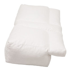 Living Healthy Products - Better Sleep Pillow  -  Luxury White Goose Feather and Goose Down Pillow - The Better Sleep Pillow White Goose Feather and Goose Down Pillow is the perfect pillow for every type of sleeper. A multi-position multi-function pillow allows to sleep in the position that is most comfortable. The Better Sleep Pillow is uniquely designed with a lateral recess along the entire length of the pillow and a center tunnel for alternative arm positions. Better Sleep Pillow provides support for your arm, head and neck, reducing shoulder discomfort, numbness and tingling. This pillow aligns your neck and spine properly, keeping your airways open, reducing snoring and sleep apnea. Proper spinal alignment prevents morning stiffness. Developed with your comfort in mind, Better Sleep Pillow has a very soft velour zippered machine washable cover.