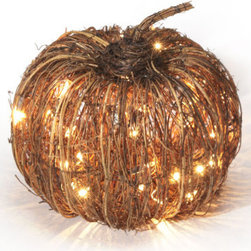 Grandin Road - 17-inch dia. Pre-lit Purplevine Halloween Pumpkin - Natural grapevine is hand-arranged around wrapped-wire frames. Clear, weather-resistant lacquer finish preserves the look. Plugs into any standard outlet. Enchant your harvest decor with the handcrafted appeal of our Pre-lit Grapevine Halloween Pumpkins. The natural look of these outdoor decorations is perfect every autumn, especially illuminated with brilliant mini-lights.   . For use outdoors and indoors.