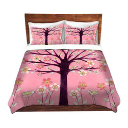 DiaNoche Designs - Duvet Cover Twill - Pink Bird Tree - Lightweight and super soft brushed twill Duvet Cover sizes Twin, Queen, King.  This duvet is designed to wash upon arrival for maximum softness.   Each duvet starts by looming the fabric and cutting to the size ordered.  The Image is printed and your Duvet Cover is meticulously sewn together with ties in each corner and a concealed zip closure.  All in the USA!!  Poly top with a Cotton Poly underside.  Dye Sublimation printing permanently adheres the ink to the material for long life and durability. Printed top, cream colored bottom, Machine Washable, Product may vary slightly from image.