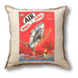 """Museum of Robots - Pillow Cover: Air Wonder Stories April 1930, Natural Linen Trim - Brighten up the place with one of our pillow covers. This cover art from the February 1934 issue of Air Wonder Stories features """"Flying Buzz-Saw"""" art of Frank R. Paul, father of sci-fi illustration. Enjoy a slice of classic sci-fi."""