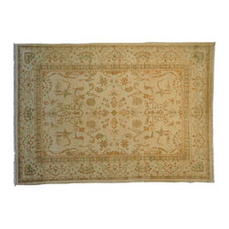 Oushak Oriental Rug, Vegetable Dyes 100% Wool 9'X12' Hand Knotted Rug SH8419 - Hand Knotted Oushak & Peshawar Rugs are highly demanded by interior designers.  They are known for their soft & subtle appearance.  They are composed of 100% hand spun wool as well as natural & vegetable dyes. The whole color concept of these rugs is earth tones.