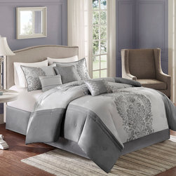 Home Essence - Home Essence Meritage 7 Piece Comforter Set - Give your room a classic, updated look with the Meritage collection. The comforter features a beautiful gray scroll damask pattern that is woven into a jacquard pattern on the center of the bed, that is pieced and pintucked with a solid gray polyoni fabric. The sham features the scroll motif woven into a jacquard pattern that coordinates back to the comforter. The set includes a tailored solid gray bedskirt. The set includes three decorative pillows that are embroidered and pleated with details to complete the overall look. Comfoter and sham face : 100% polyester Jacq pieced with 100% polyoni by pintuck; Back: 100% polyester micrfiber 85gsm solid, 7 oz poly fill; Bedskirt: 100% poly fabric on platform and polyoni on drop.