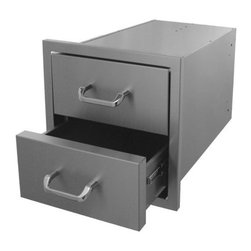 HBI - Hasty-Bake Stainless Steel 2 Drawer Unit 12X11 (2DR-12X11) - Large drawer sets feature heavy-duty drawer slides, all Stainless (304 grade material) construction and polished chrome handles. The drawers are the perfect compliment for our deluxe door series.   Outside Dimensions: