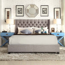INSPIRE Q Naples Grey Linen Wingback Button Tufted Upholstered King-sized Bed -