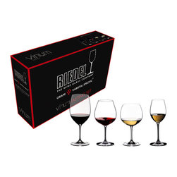 Riedel - Riedel Vinum Tasting Set Glasses - Set of 4 - Riedel Vinum Wine Glass Tasting Set - Set of 4 Hold your own wine tasting with this exceptional varietal specific wine glass set. The Riedel Vinum Tasting Set includes four lead crystal wine glasses that is specifically designed to translate the bouquet, texture, flavor, and finish of a variety of wines. Executed in lead crystal, and machine blown, these elegant wine glasses are ideal for tasting fine wines. This set includes one Bordeaux, Montrachet, Burgundy and Sauvignon Blanc glasses.