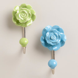 Ceramic Floral Hooks, Set of 2 - I love these pretty ceramic flower hooks. I could see a pair of them holding hand towels in a guest bathroom.