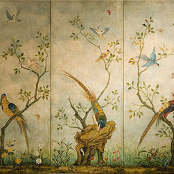 """Inviting Home - Wall Screen with Birds and Flowers - Decorative wall screen with hand-painted birds and flowers 60""""W x 48""""H 3-panel hand-painted wood screen featuring birds and flowers on an antiqued pale blue background. The back of the screen has an antiqued black finish. This decorative screen can stand on the floor or hang on a wall."""