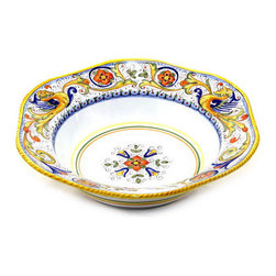Artistica - Hand Made in Italy - Raffaellesco: Hexagonal Lg. Salad/Pasta Bowl - Raffaellesco Collection: Among the most popular and enduring Italian majolica patterns, the classic Raffaellesco traces its origin to 16th century, and the graceful arabesques of Raphael's famous frescoes.