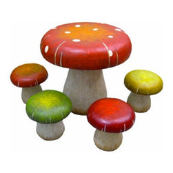 Toadstool Table & Stools Set - This toadstool set is too cute. It's perfect for a garden or amongst the trees.