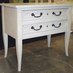 British Traditions - 2-Drawer Crecy End & Side Table (Wild Blueberry) - Finish: Wild Blueberry. Each finish is hand painted and actual finish color may differ from those show for this product. 2 Drawers. French legs. Minimal assembly required. Drawers size: 24 in. W x 15 in. D x 3.88 in. H. 32 in. W x 17.75 in. D x 28 in. H (58 lbs.)A quaint side and end table to add a little storage to keep the bedside tidy, but the floor clear. A painted finish in an accent color will really add a pop of color in a very tasteful way.