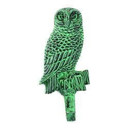 """MarktSq - Owl Hook in Green Distressed Finish - Charming aluminum hook in green distressed finish. These hooks have a keyhole hook in the back for easy mounting. Approx dimensions: H 6.75"""" x W 2.9"""" x D 0.6""""."""