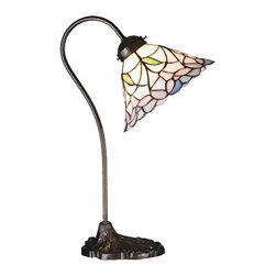 Meyda Tiffany - Meyda Tiffany Lamps Desk Lamp in Copperfoil - Shown in picture: Daffodil Bell Desk Lamp; Elegant Bell Shaped Linen White Shades Bordered With Delicate Plum Pink Flowers Are Accented With Tiny Leaves Of Jade Green. Each Piece Of Stained Glass In This Tiffany Style Shade Is Hand Cut And Wrapped In Copper Foil. The Beautiful Shade Graces This Desk Lamp - Hand Finished In Mahogany Bronze.