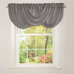 Lush Decor - Lush Decor Lucia Grey Valance - Create an elegant feel in any room with this hand-constructed grey valance,which features a beautiful draping effect that accentuates any window. Ideal for use in a formal dining room,the brushed-polyester valance to shows off your sense of style.