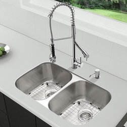 """Vigo - All in One 32"""" Undermount Stainless Steel Kitchen Sink & Chrome Faucet Set - Breathe new life into your kitchen with a VIGO All in One Kitchen Set featuring a 32"""" Undermount kitchen sink, faucet, soap dispenser, matching bottom grids, and strainers.; The VGR3218BL double bowl sink is manufactured with 18 gauge premium 304 Series stainless steel construction with commercial grade premium satin finish; Fully undercoated and padded with a unique multi layer sound eliminating technology, which also prevents condensation.; All VIGO kitchen sinks are warranted against rust; Exterior Measures: 32 1/4""""W x 18 1/2""""D; Each bowl's interior dimensions: 14 5/8""""W x 16 1/2""""D; Bowl depth: 9"""" (larger bowl) and 5"""" (smaller bowl); Required interior cabinet space: 35""""; Kitchen sink is cUPC and NSF-61 certified by IAPMO; All mounting hardware and cutout template provided for 1/8"""" reveal or flush installation; The VG02007CH kitchen faucet features a spiral pull-down spray head for powerful spray and separate spout for aerated flow, and is made of solid brass with chrome finish.; Includes a spray face that resists mineral buildup and is easy-to-clean; High-quality ceramic disc cartridge; Retractable 360-degree swivel spout expandable up to 20""""; Single lever water and temperature control; All mounting hardware and hot/cold waterlines are included; Water pressure tested for industry standard, 2.2 GPM Flow Rate; Standard US plumbing 3/8"""" connections; Faucet height: 27 1/4""""; Faucet spout reach: 10 1/8""""; Faucet sprayer reach: 8 1/8""""; Kitchen faucet is cUPC, NSF-61, and AB1953 certified by IAPMO.; Faucet is ADA Compliant; 2-hole installation with soap dispenser; Soap dispenser is solid brass with an elegant chrome finish and fits 1 1/2"""" opening with a 3 1/2"""" spout projection.; Matching bottom grids are chrome-plated stainless steel with vinyl feet and protective bumpers.; Sink strainers are made of durable solid brass in chrome finish; All VIGO kitchen sinks and faucets have a Limited Lif"""