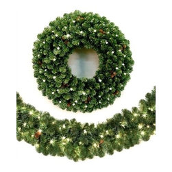 Lakewood Spruce Cordless Lighted Wreath & Garland - ENJOY HASSLE-FREE DECORATING WITH OUR LAKEWOOD SPRUCE CORDLESS LED WREATH AND GARLAND